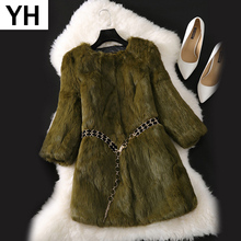 Natural Real Rabbit Fur Long Coat 2020 New Winter Real Rabbit Fur Jacket Korean Female Three Quarter Sleeve Soft Real Fur Coats