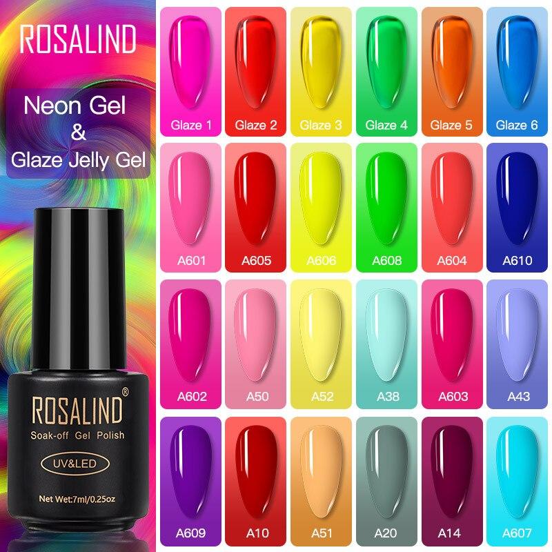 Неоновый Гель-лак ROSALIND, гибридный Желейный Гель-лак для ногтей, полуперманентный УФ-светодиодный Праймер, верхнее покрытие, лампы для ногте...