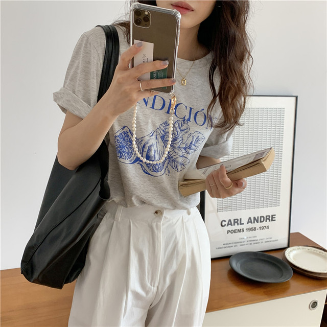 Korean Style Causal Vintage Gray Letters Printed Loose Simple Short Sleeve Women Top 2021 Summer New T-shirts 4