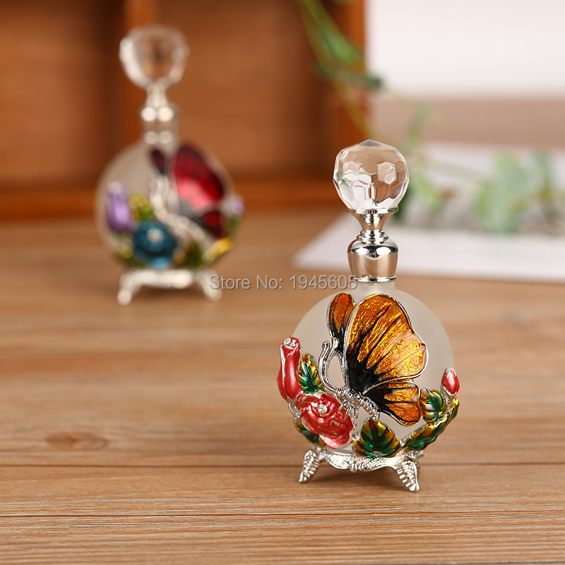 <font><b>25ml</b></font> Metal Butterfly Empty Glass Perfume <font><b>Containers</b></font> Home Decoration Refillable Attar Essential Oil Bottle Gift#81121 image
