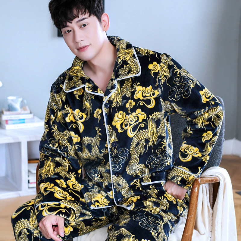 H5905 Men Fashion Pajamas Chinese Dragon Printed Thickened Coral Fleece Home Clothing Suit Flannel Autumn Winter Nightwear Set