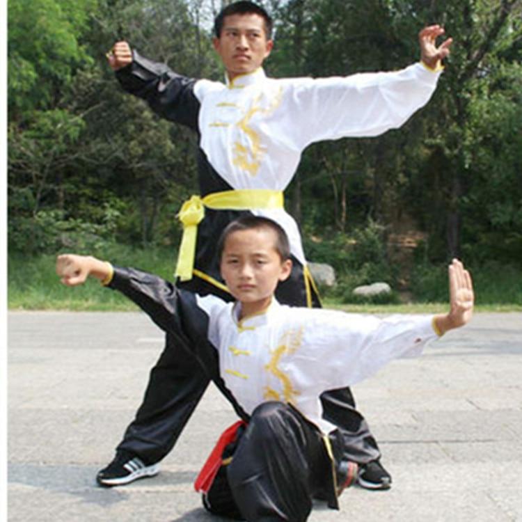 2019 Tai Chi Wushu Shaolin Kung Fu Uniform Chinese Men Wushu Clothing Embroidery Dragon Demo Traje Wushu Kung Fu Art Clothes