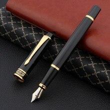 Caneta fonte hero 7032, caneta fonte dourada preta de cobre elegante
