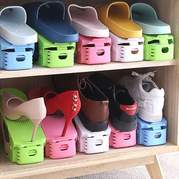 4 szt Regulowany stojak na buty do przechowywania dwuwarstwowy uchwyt na buty oszczędność miejsca w gospodarstwie domowym zintegrowany stojak na buty szafka na buty do przechowywania tanie i dobre opinie CN (pochodzenie) Wieszak na buty ZH-SCXJ01 Shoe storage rack Pink blue green white 4pcs 25 2*9 6*7 6cm Shoe rack can be pulled easy to take