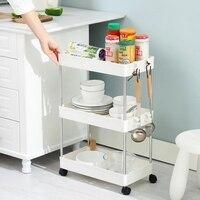 Beweglichen Regal Küche Boden Lagerung Lagerung Regal Multi-schicht Mit Rädern Und Haken Bad Kunststoff Regal