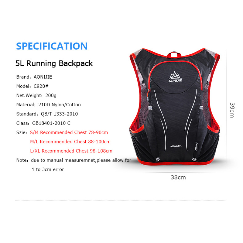 Image 2 - AONIJIE 5L C928 Hydration Pack Backpack Rucksack Bag Vest For 2L Water Bladder Flask Running Marathon Race Sports-in Running Bags from Sports & Entertainment on AliExpress