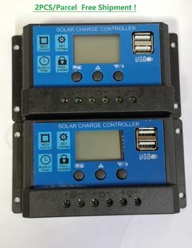 2 sztuk każda paczka 12 24V 10A20A30A PWM regulator ładowania słonecznego z wyświetlaczem LCD i podwójnym portem USB tanie i dobre opinie SC-01 Solar system controller Universal Solar Charge Controller 2PCS each parcel in one lot