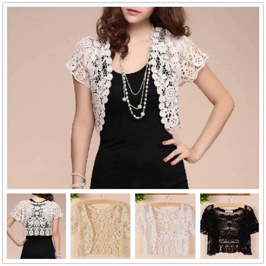 Women's Bridal Short Sleeve Shrug Bolero Flower Lace Wedding Summer Jacket Elegant Cape Wraps Bridal Shawl White Black Apricot