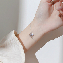 Silver Four Leaf Clover Charm Bracelet 925 Lucky Flower Crystal Link Chain Bracelet For Women Original Handmade Fashion Jewelry zoziri 100% 925 sterling silver 3 clover leaf bracelet luxury brand imitation jewelry for women girls zircon flower bracelet