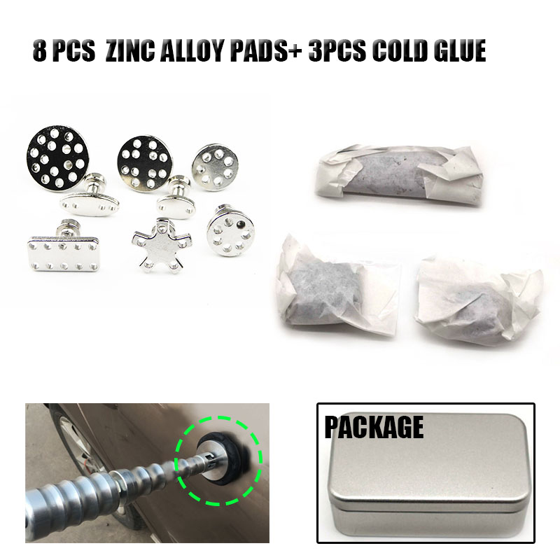 Car Body Paintless Bump Dent Repair Tool Zinc Alloy Glue Puller Tabs Pads + Cold Glue