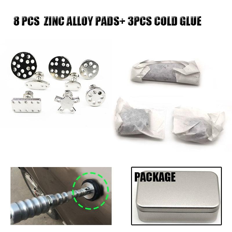 Car Body Paintless Bump Dent Repair Tool Zinc Alloy Glue Puller Tabs Pads + Cold Glue