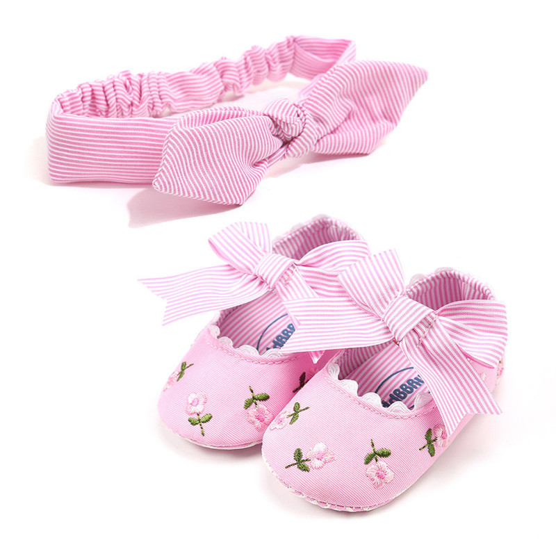 Pudcoco Baby Girl Floral Crib Shoes New Summer Cute Toddler Kids Princess Baby Girls Soft Sole Cotton Shoes With Headband 0-18M