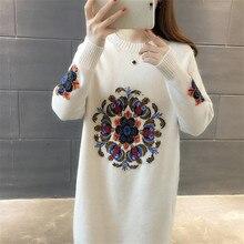 2020 חדש אביב סתיו חורף נשים סרוג סוודרי סוודר נשי ארוך שרוול רקמת סוודר שמלהסוודרים