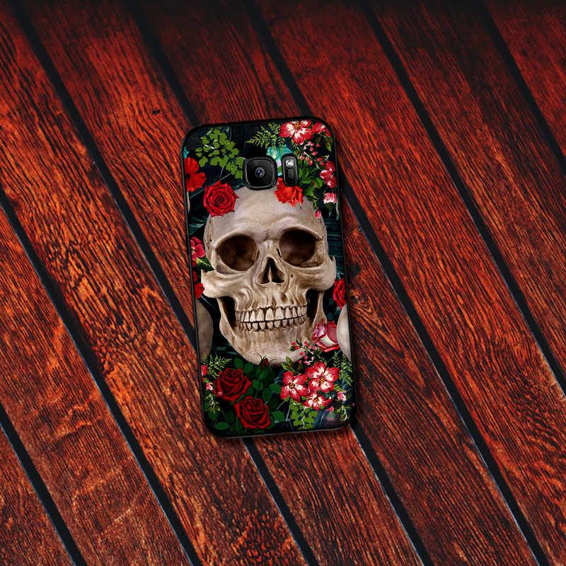 สำหรับ Samsung A70 50 40 30 20 10 60 6 Plus Vintage ใบ tropical skull เสือดาวพิมพ์ A7 A8 a9Soft โทรศัพท์กลับของขวัญ
