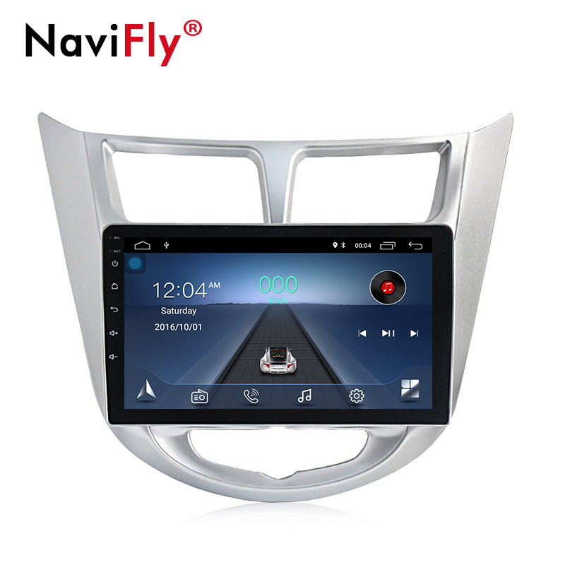 NaviFly 9 zoll Android 8.1 auto multimedia-player gps navigation für <font><b>Hyundai</b></font> Accent <font><b>Solaris</b></font> Verna 1024*600 HD Bluetooth TDA7851 image