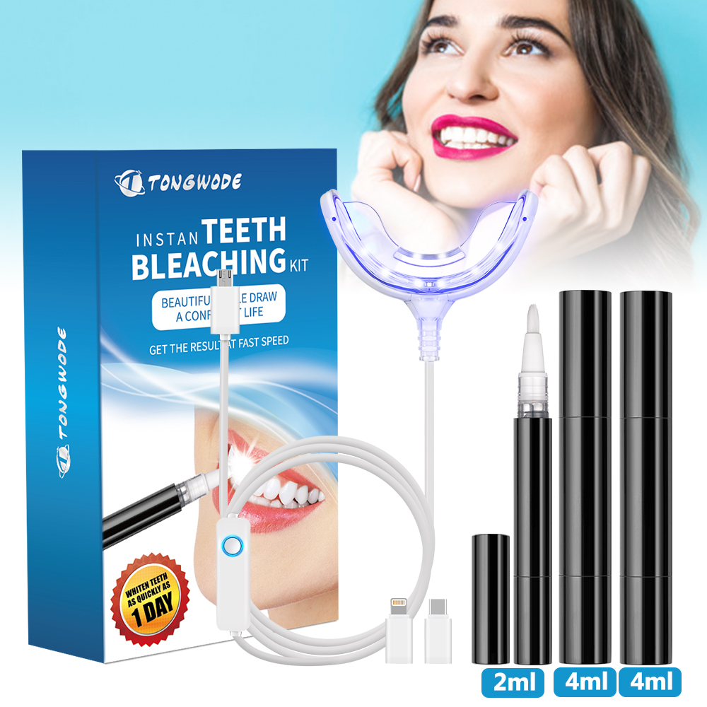 Teeth Whitening Kit With Smart Device Blue LED Light For Phone Plug Wit 3 Gel Pens Portable Tooth Bleaching Accelerator Home Set