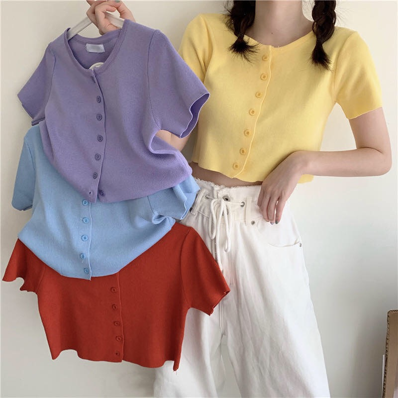 Zomer Vrouwen O-hals Gebreide Casual Korte Mouw Vesten Lady Breien Single-Breasted T-shirts Crop Tops Voor Meisjes
