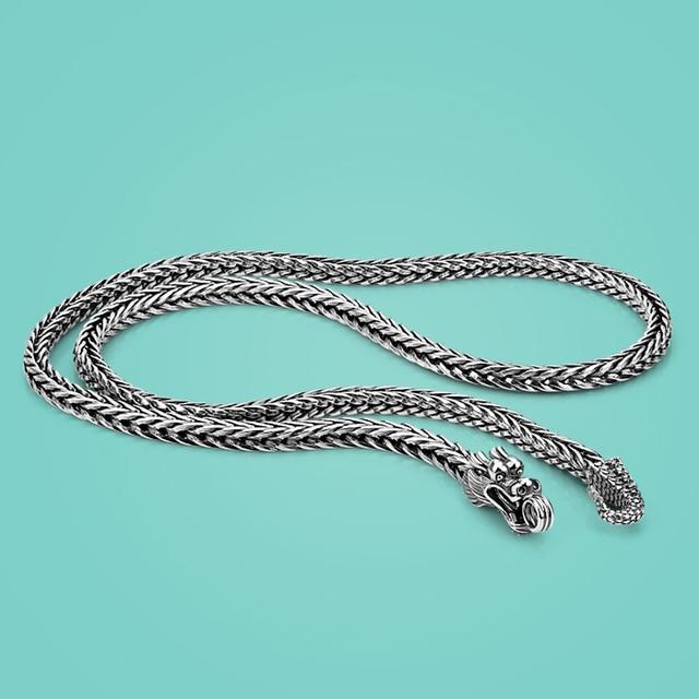 Hommes 925 argent Sterling colliers Dragon 925 argent populaire colliers en argent massif corps chaîne bijoux accessoires Vintage