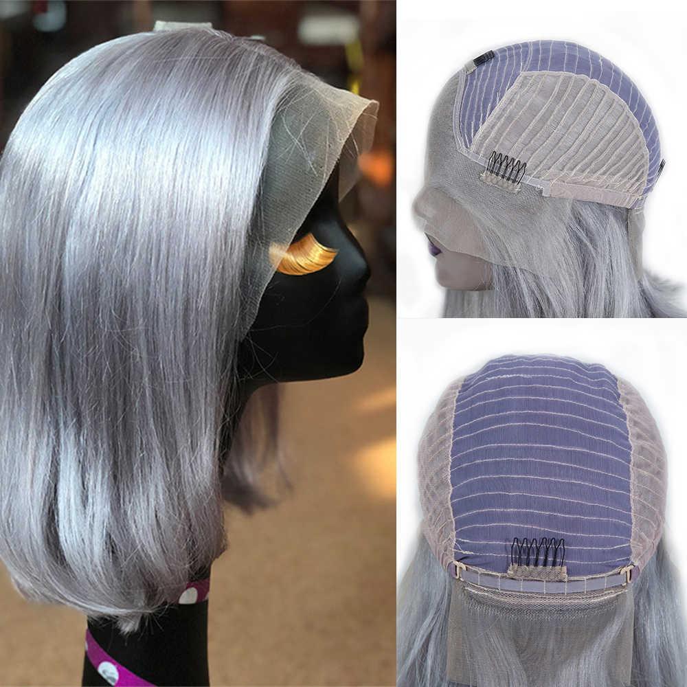 Bd Korte Bob Pruiken Menselijk Haar Straight Braziliaanse Haarkant Voor Zwarte Vrouwen 1B/613 613 Blonde 1B/Grey Lace Bob Remy Haar