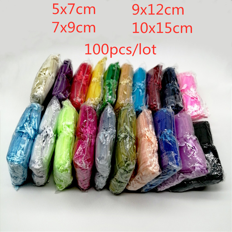 100 шт./лот сумка для упаковки ювелирных изделий, сумки для ювелирных изделий, мешочки для ювелирных изделий, сумки из органзы на шнурке, Сваде...