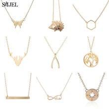 SMJEL mode croissant de lune pendentif collier géométrique hérisson souhait os barre colliers pour femmes kolye bijoux cadeau d'anniversaire