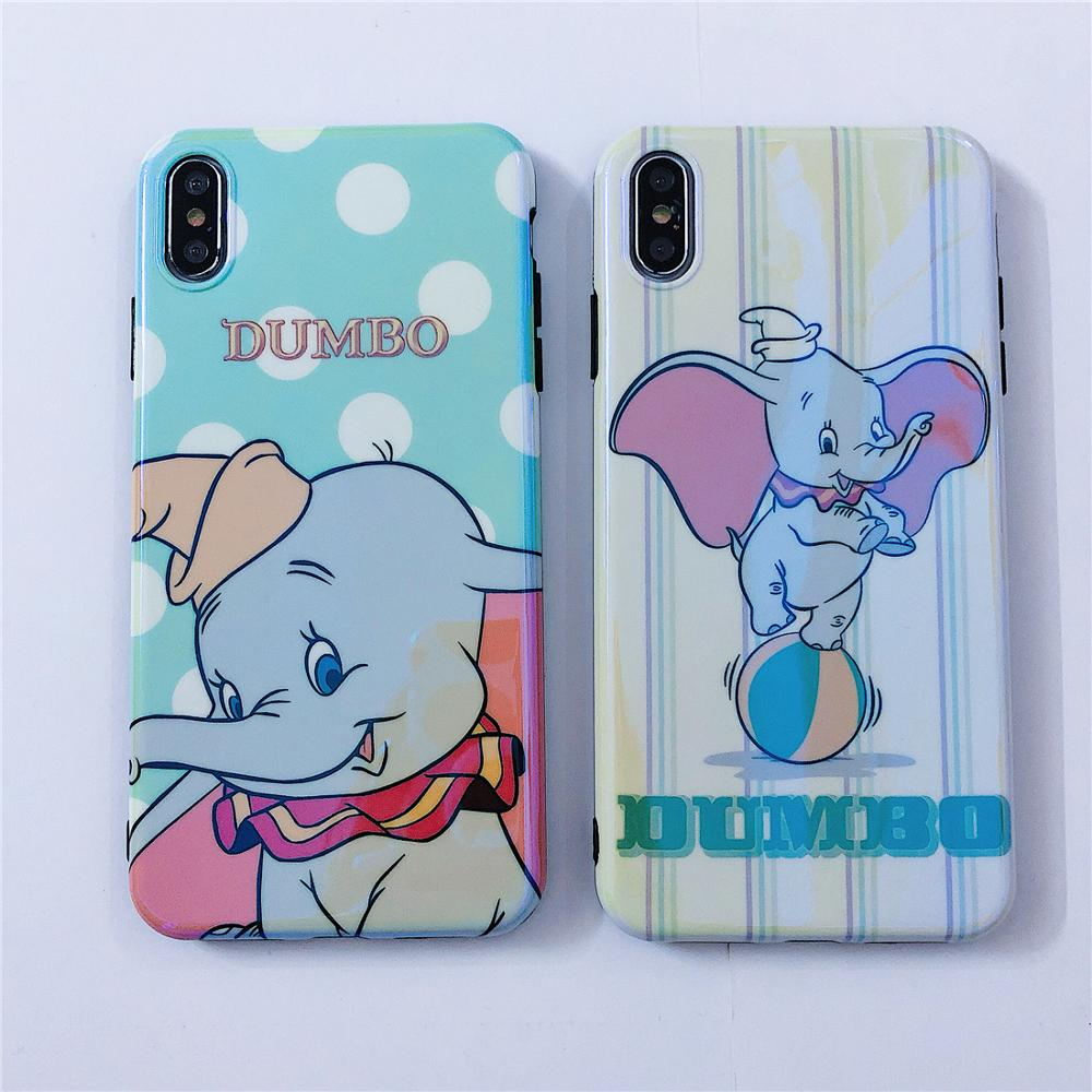 Image 2 - Flying Elephant Blue Light Cute Cartoon Dots Stand Holder Soft Phone Case For iPhone X Xr Xs 11 Pro Max 8 7 6 6s Plus Back Cover-in Fitted Cases from Cellphones & Telecommunications
