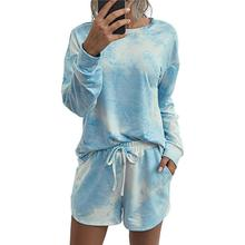Yfashion 2Pcs/Set Women Home Wear Fashion Long Sleeve Tie-dyed Round Collar Tops+Shorts Set