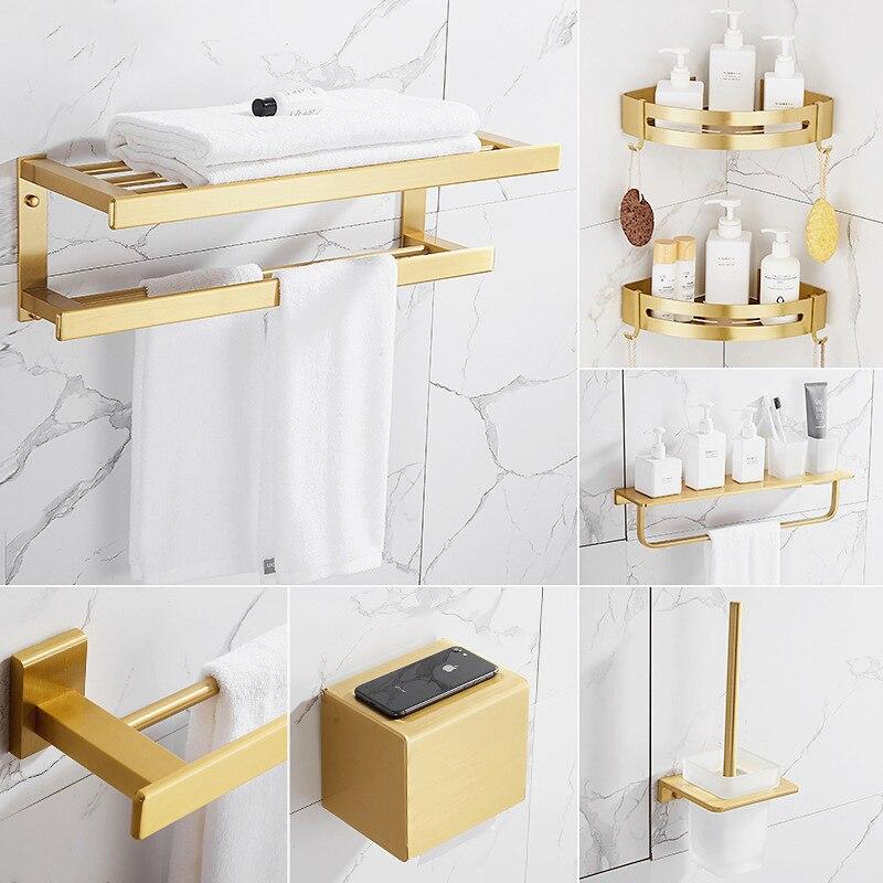 Gold Aluminum Alloy Bathroom Accessories Set Toilet Paper Holder Towel Shelf Brush Rack Soap Dish Storage Shower Caddy Wall Hook