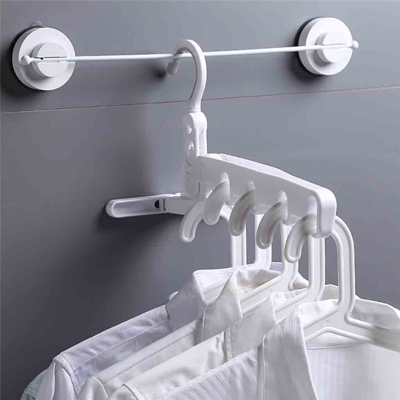 Multi-function Travel 5 Holes Folding Hangers Wall-mounted Clothes Drying Rack Home Use Laundry Storage & Organization Tool JJ20