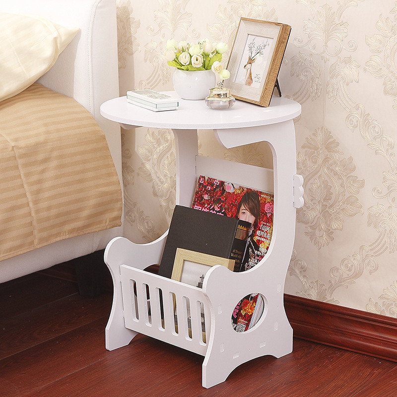 Round White Coffee Tea Table Hollow Carved Wooden Magazine Rack Storage Rack Lamp Shelf For Bed Living Room Sofa Side