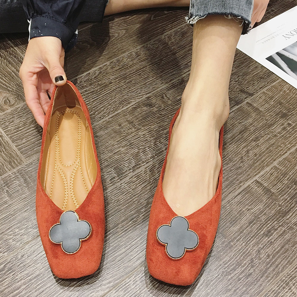 Women's Flats 2020 Spring Autumn Women Shoes Brand Solid Flock Flower Slip-On Fashion Office Ladies Work Shoes Females Shoes