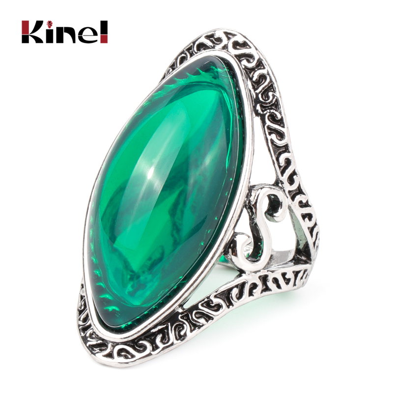 Kinel Boho Green Big Oval Finger Rings For Women Vintage Antique Tibetan Silver Female Statement Beach Holiday Jewlery Gifts(China)