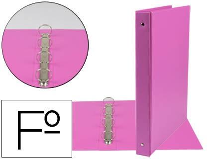 FOLDER LIDERPAPEL 4 RINGS 25 MM ROUND PLASTIC FOLIO FUCHSIA COLOR
