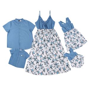 Family Matching Outfit for Father Mother Kids Summer Blue Floral Print Dress Short Sleeve Shirt Parent Child Suit