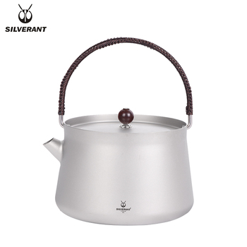 SilverAnt Pure Titanium Durable Handle Kettle Tea Maker Outdoor Water Camping Lightweight Titanium Water 800ml Teapot ship from germany 4l pure water distiller purifier dental and medical pure water maker stainless steel body