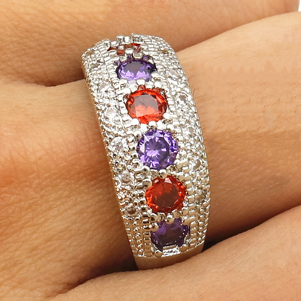 Indian fashion multicolor AAA zircon diamonds gemstones rings for women white gold silver color jewelry bijoux bague party gifts