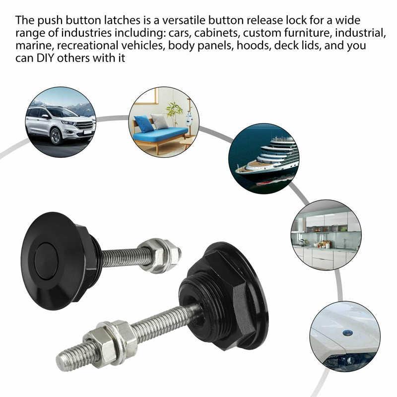 Justdodo Aluminum Alloy Mini Engine Hood Cover Lock Universal Push Button Billet Hood Pins Lock Clip Car Quick Latch for Auto Car