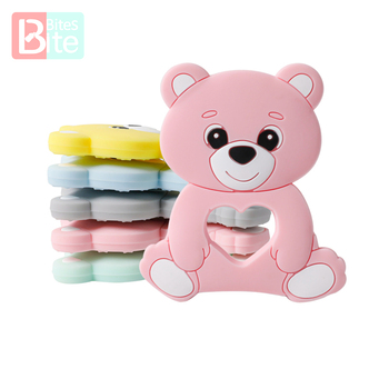 10PCS/5PCS Silicone Bear Cartoon Bead Stroller Baby Teether Necklace Bpa Free Food Grade