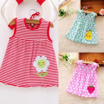 Baby Girl Sleeveless Dress Toddler Cute Baby Cotton Flower Dot Striped Tees Dress T-Shirt Vest For 0-24 Months Baby Girl beautiful carnation flower vest dress runway vintage key dress vestidos infantis baby girl clothes 8002
