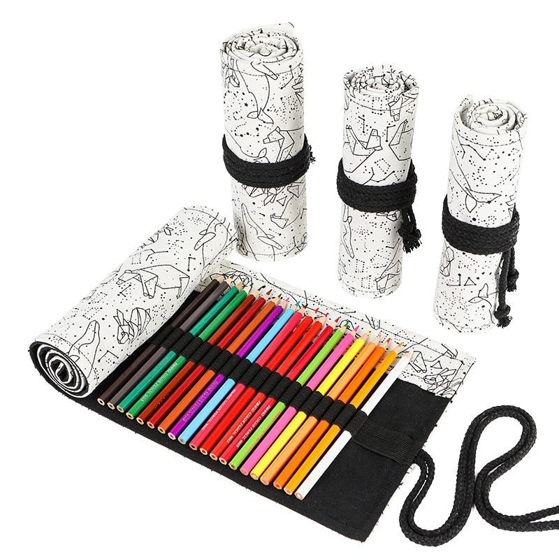 36/48/72 Holes Constellation Pattern Canvas Roll Pen Curtain Pencil Bag Case Makeup Wrap Holder Storage Pouch School Supplies