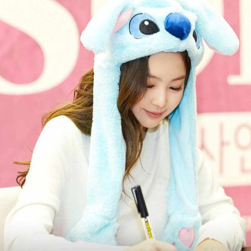 Kpop Blackpink Jennie Kim Hat Korean Version Cute Cartoon Ears Will Can Move Plush Hat Warm.jpg q50
