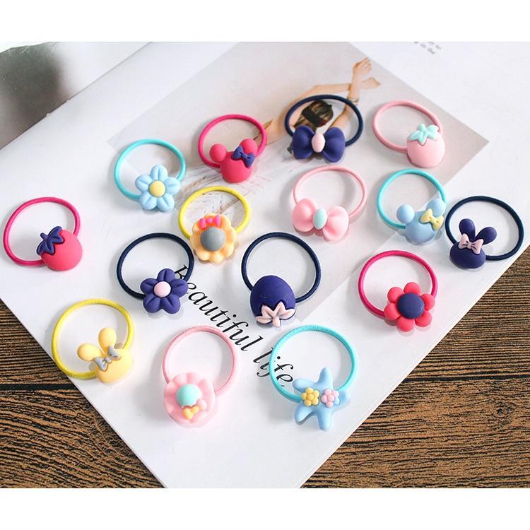 10 PCS Lovely Flower Princess Headwear Baby Headdress Girls Hair Accessories Kids Elastic Hair Bands Children Hair Ropes 4