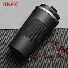 380ml/510ml Double Stainless Steel 304 Coffee Thermos Mug Leak-Proof Non-Slip Car Vacuum Flask Travel Thermal Cup Water Bottle