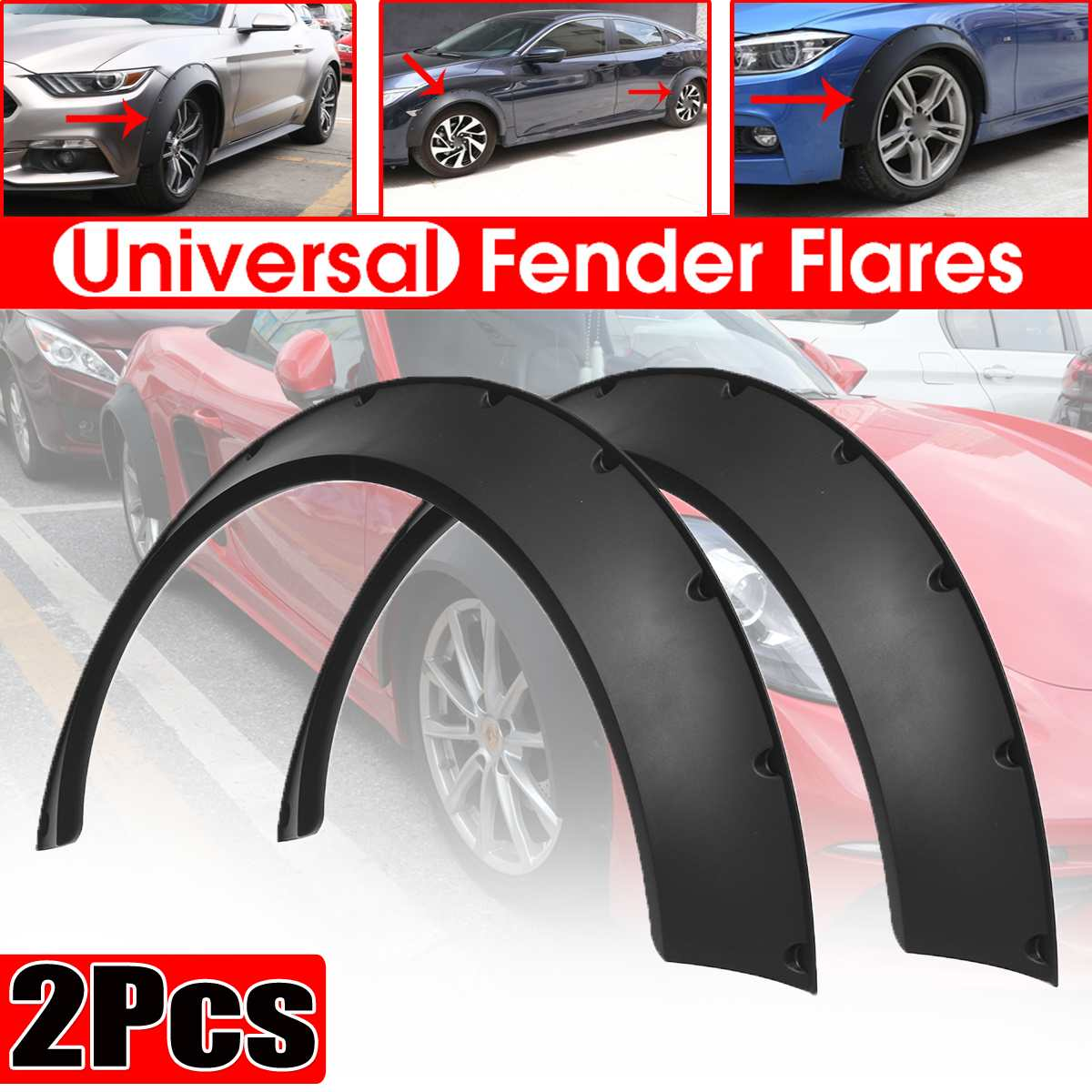 Voiture universelle 2 pièces pour fusées éclairantes pour voitures Kits de carrosserie Extension de garde-boue pour BMW pour Benz pour Ford