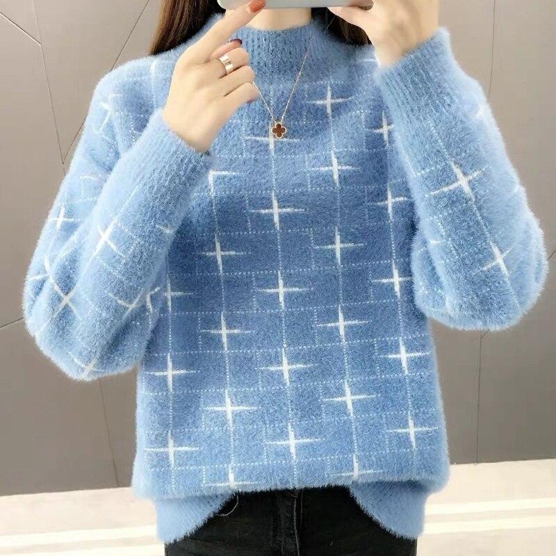 Pullover Women Sweater Long Sleeve Sweaters Velvet Knit Loose Sweater Women's Jumper Plus Size