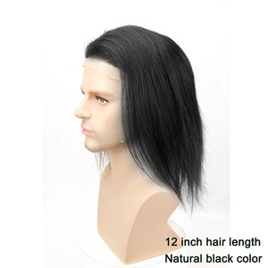 """Image 5 - 12"""" Long Hair Mens Toupee 100% Virgin Human Hair Hairpiece Mono Lace with PU Replacement for Men wig Straight 10""""x8"""" Base Size"""