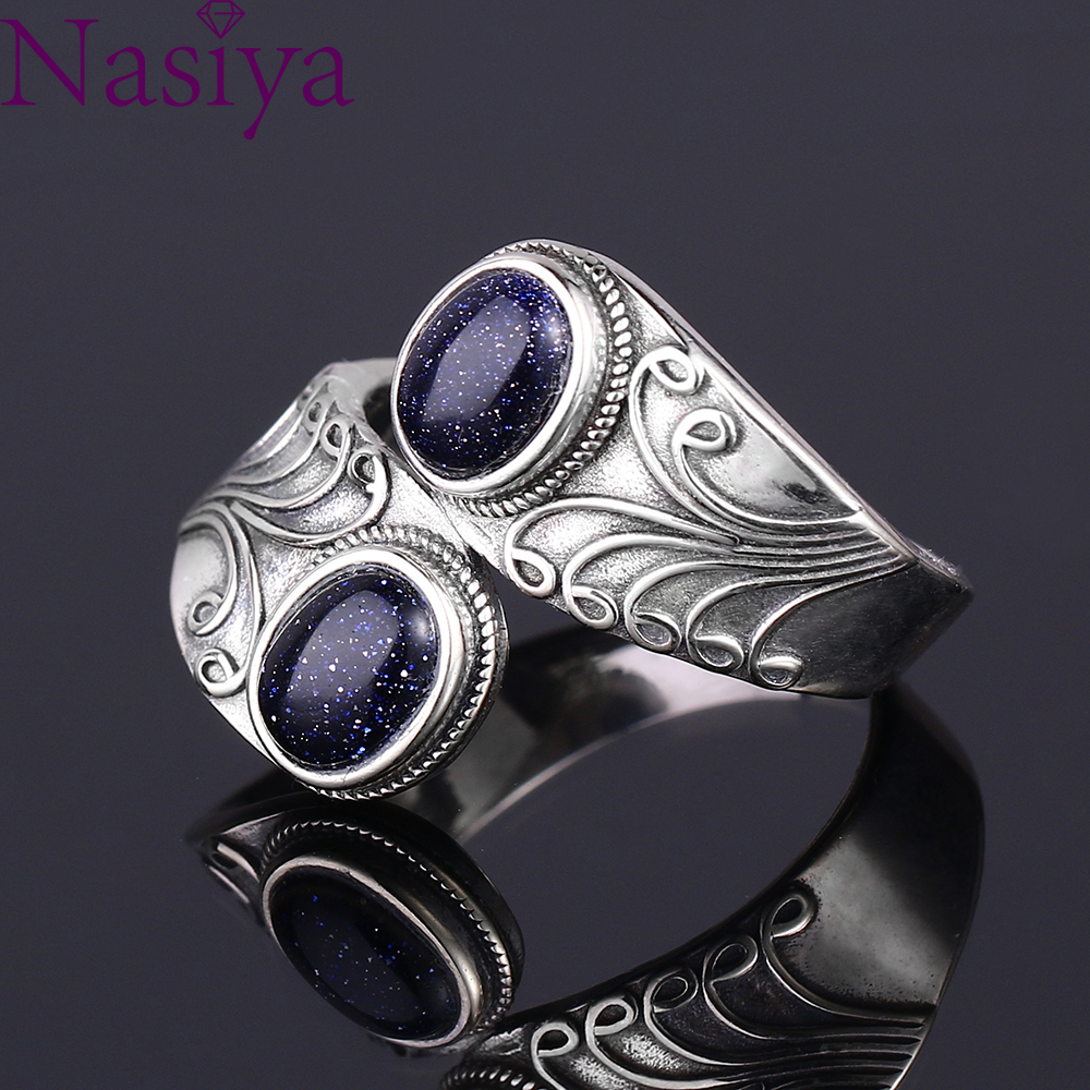 Nasiya New Design Punk Hiphop Ring With Two Blue Sandstone Women 925 Sterling Silver Jewelry Party Birthday Gift