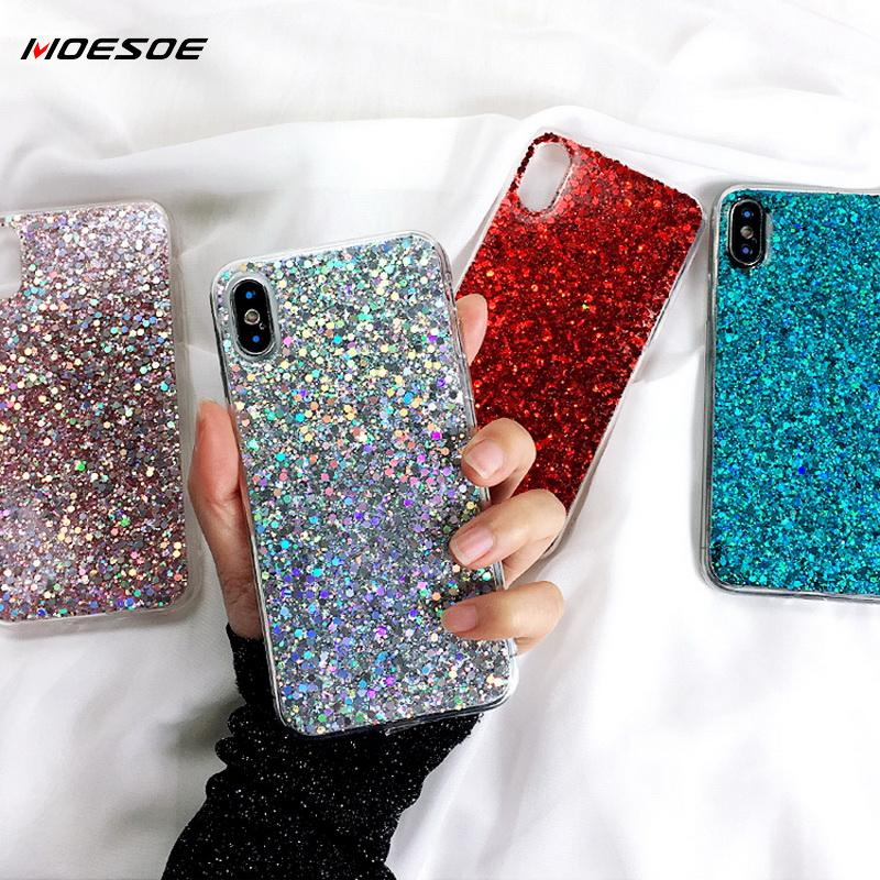 Bling Glitter Phone Cases For Samsung S10 S9 S8 Plus A6 A8 A9 A7 2018 Note 10 9 8 A70 A50 A30 A 40 20 10 60 M40 M20 Case Cover image