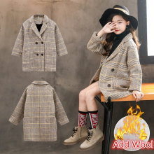 Fashion Kids Girls Overcoat Plaid Wool Winter Coat for Girls Teens Autumn Jacket Thicken Long Outerwear Children Windproof 4-13Y vyu kids girls overcoat new autumn winter 2018 woolen coat lapel thickening windproof warm long outwear teens coats