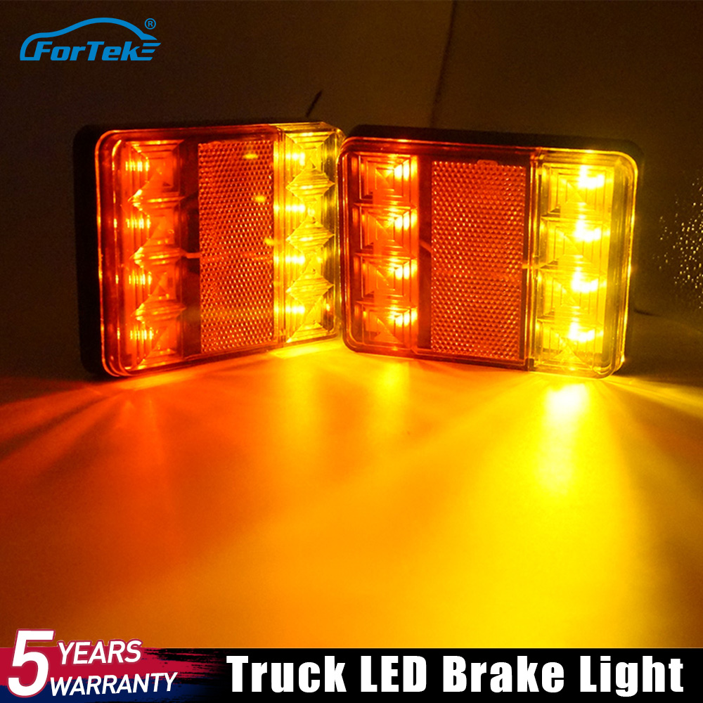 FORTEK  Waterproof 8 LED Car Tail Light Warning Rear Lamp Pair Boat Trailer 12V Parts For Trailer Truck Car Taillights